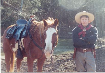 Kane Rubalcaba and his horse is under the Fort Bridger Hope